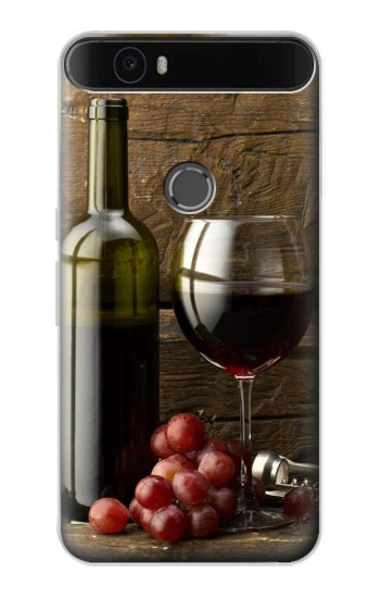 Printed Grapes Bottle and Glass of Red Wine Huawei Nexus 6P Case