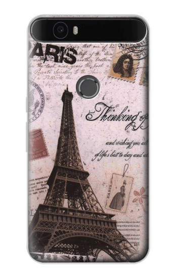 Printed Paris Postcard Eiffel Tower Huawei Nexus 6P Case