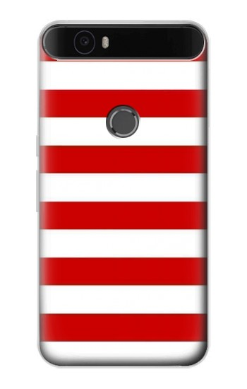 Printed Red and White Striped Huawei Nexus 6P Case