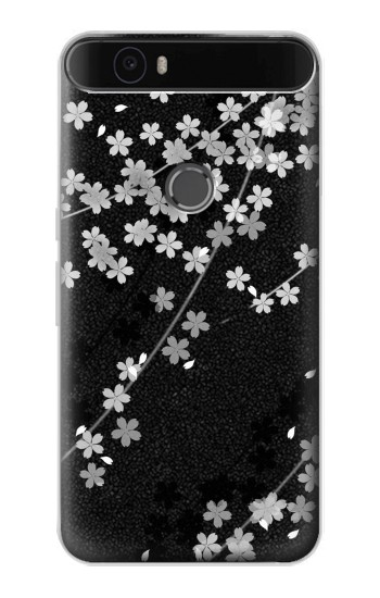 Printed Japanese Style Black Flower Pattern Huawei Nexus 6P Case