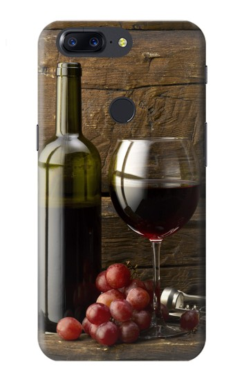 Printed Grapes Bottle and Glass of Red Wine OnePlus 5T Case