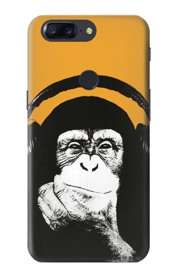 Printed Funny Monkey with Headphone Pop Music OnePlus 5T Case