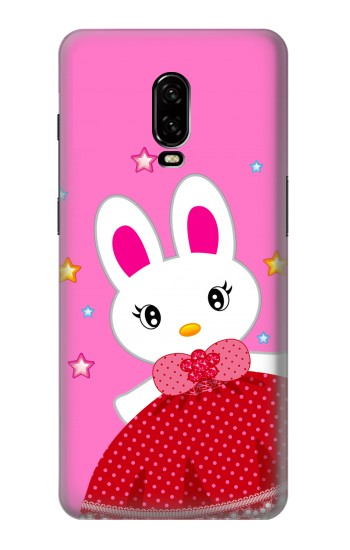 Printed Cute Pink Bunny Cartoon OnePlus 6T Case