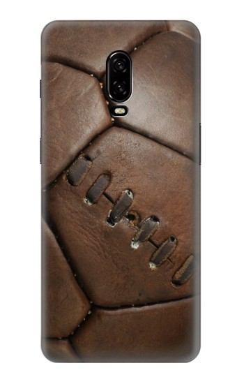 Printed Vintage Genuine Leather Soccer Football OnePlus 6T Case
