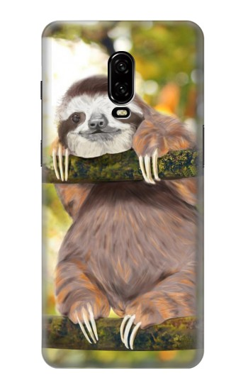 Printed Cute Baby Sloth Paint OnePlus 6T Case