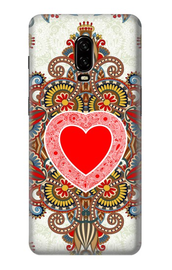Printed Heart Pattern Line Art OnePlus 6T Case