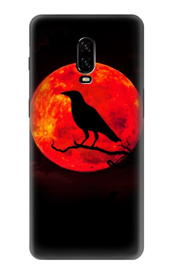 Printed Crow Red Moon OnePlus 6T Case
