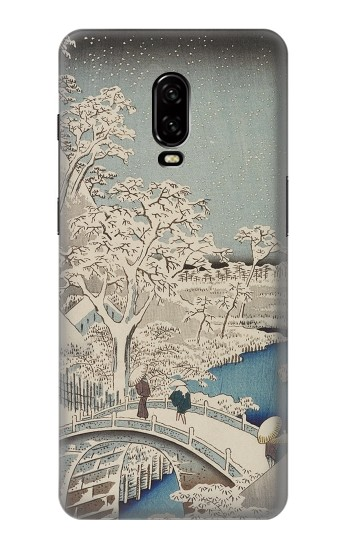 Printed Utagawa Hiroshige The Drum Bridge at Yuhi Hill in Meguro OnePlus 6T Case