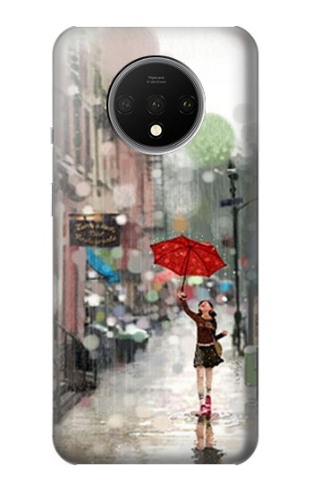 Printed Girl in The Rain OnePlus 7T Case