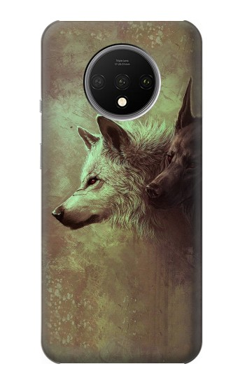 Printed White Black Wolf OnePlus 7T Case