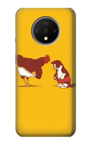 Printed Rooster and Cat Joke OnePlus 7T Case