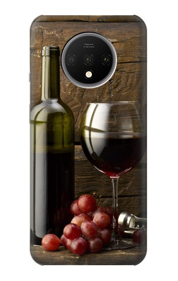 Printed Grapes Bottle and Glass of Red Wine OnePlus 7T Case