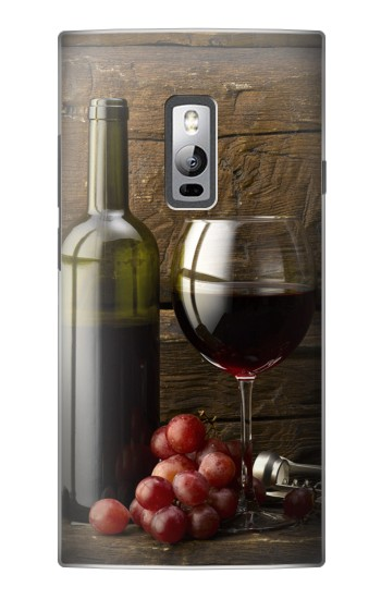 Printed Grapes Bottle and Glass of Red Wine OnePlus 2 Case