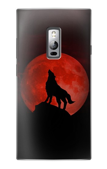 Printed Wolf Howling Red Moon OnePlus 2 Case