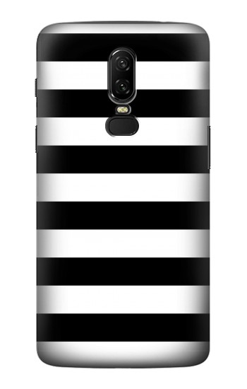 Printed Black and White Striped OnePlus 6 Case