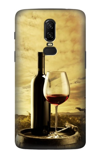 Printed A Grape Vineyard Grapes Bottle and Glass of Red Wine OnePlus 6 Case