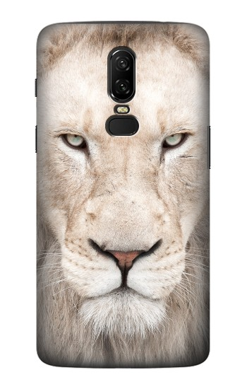 Printed White Lion Face OnePlus 6 Case