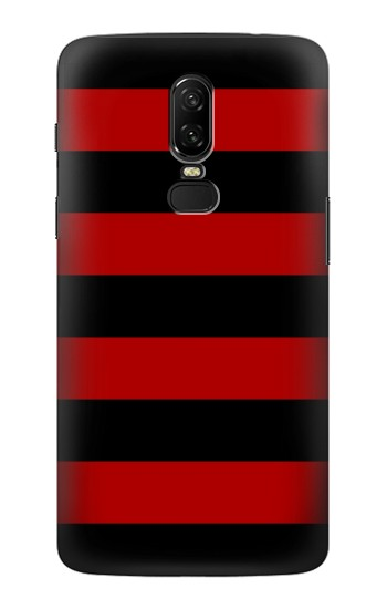 Printed Black and Red Striped OnePlus 6 Case
