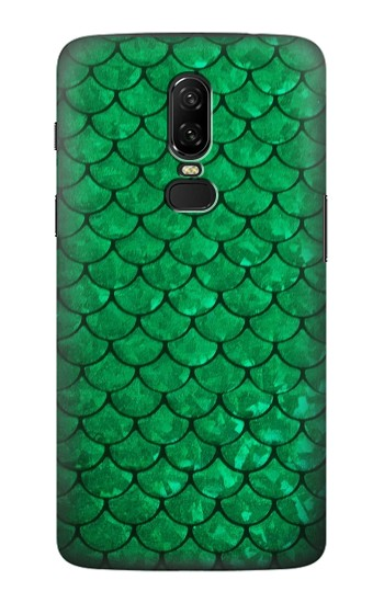 Printed Green Fish Scale Pattern OnePlus 6 Case