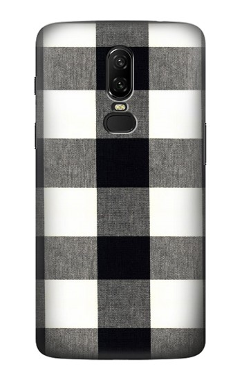 Printed Black and White Buffalo Check Pattern OnePlus 6 Case