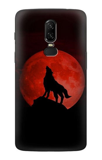 Printed Wolf Howling Red Moon OnePlus 6 Case