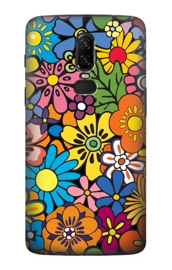 Printed Colorful Flowers Pattern OnePlus 6 Case