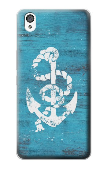 Printed Marine Anchor Blue Wooden OnePlus X Case