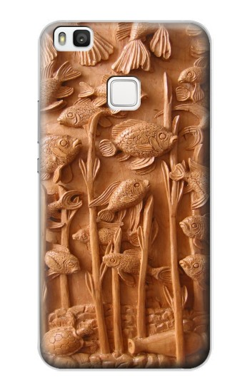 Printed Fish Wood Carving Graphic Printed alcatel Idol 2 S Case