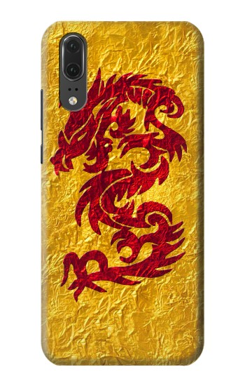 Printed Dragon Tattoo Gold Huawei P20 Case