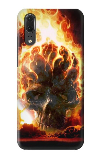 Printed Hell Fire Skull Huawei P20 Case