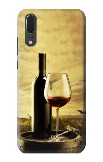 Printed A Grape Vineyard Grapes Bottle and Glass of Red Wine Huawei P20 Case