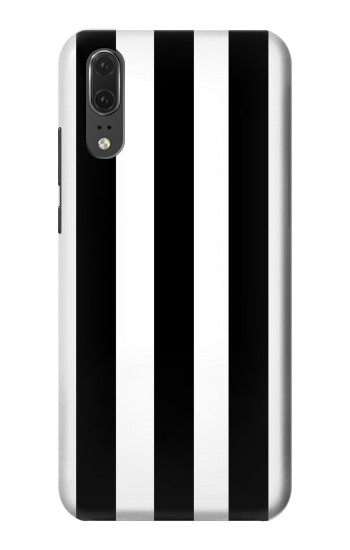 Printed Black and White Vertical Stripes Huawei P20 Case