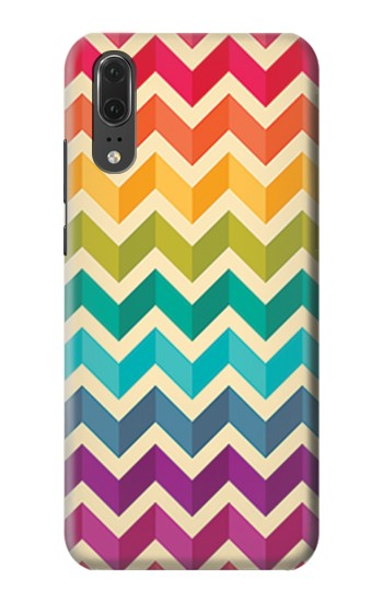 Printed Rainbow Colorful Shavron Zig Zag Pattern Huawei P20 Case