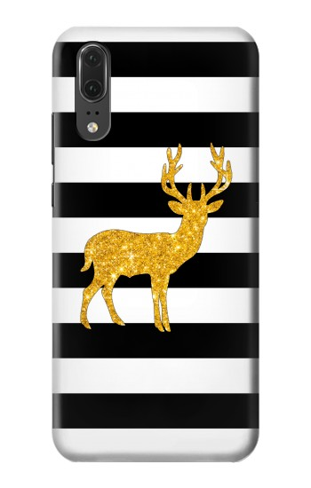 Printed Black and White Striped Deer Gold Sparkles Huawei P20 Case