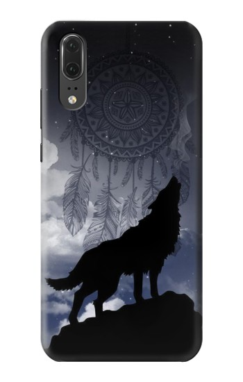 Printed Dream Catcher Wolf Howling Huawei P20 Case
