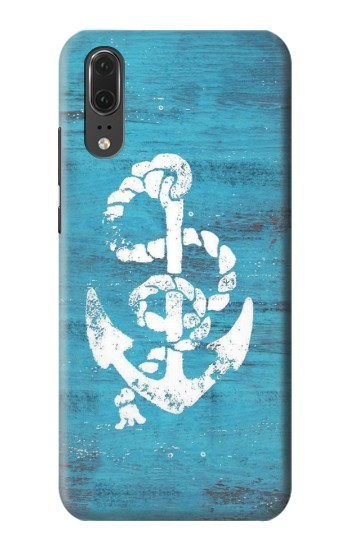 Printed Marine Anchor Blue Wooden Huawei P20 Case