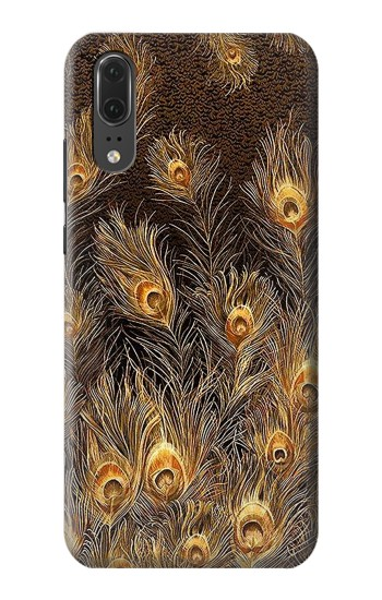 Printed Gold Peacock Feather Huawei P20 Case