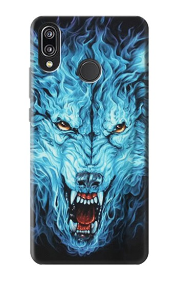 Printed Blue Fire Grim Wolf Huawei P20 Lite Case