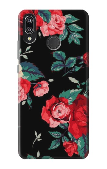Printed Rose Floral Pattern Black Huawei P20 Lite Case