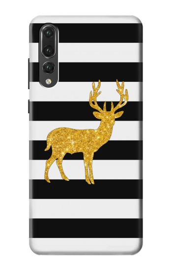 Printed Black and White Striped Deer Gold Sparkles Huawei P20 Pro Case