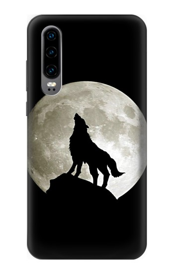 Printed Wolf Howling at The Moon Huawei P30 Case