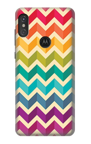 Printed Rainbow Colorful Shavron Zig Zag Pattern Motorola One Power (P30 Note) Case