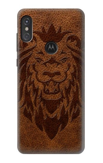 Printed Leo Tattoo Brown Leather Motorola One Power (P30 Note) Case