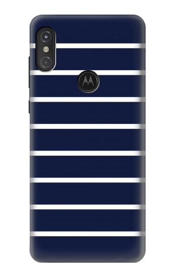 Printed Navy White Striped Motorola One Power (P30 Note) Case