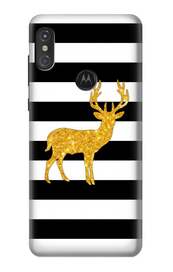 Printed Black and White Striped Deer Gold Sparkles Motorola One Power (P30 Note) Case