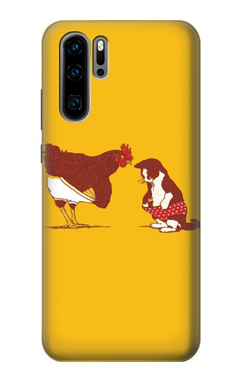 Printed Rooster and Cat Joke Huawei P30 Pro Case