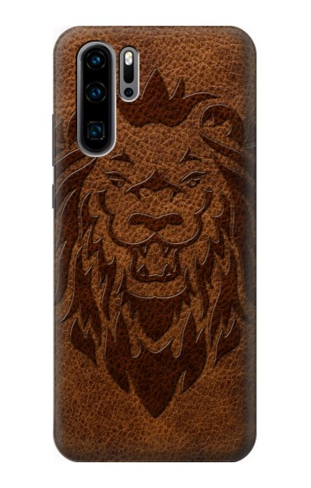 Printed Leo Tattoo Brown Leather Huawei P30 Pro Case