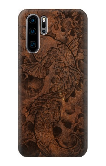 Printed Fish Tattoo Leather Graphic Print Huawei P30 Pro Case