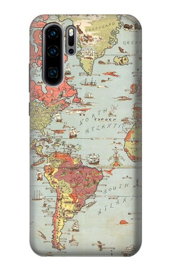 Printed Vintage World Map Huawei P30 Pro Case