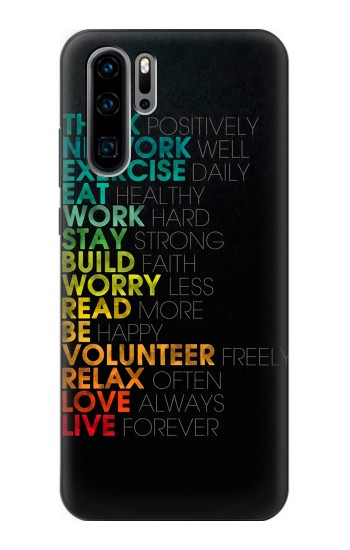 Printed Think Positive Words Quotes Huawei P30 Pro Case